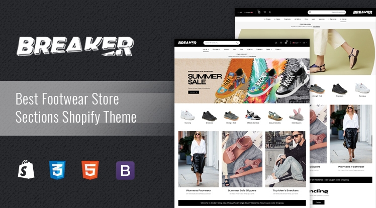 Breaker - Section Drag & Drop Footwear Shopify Theme
