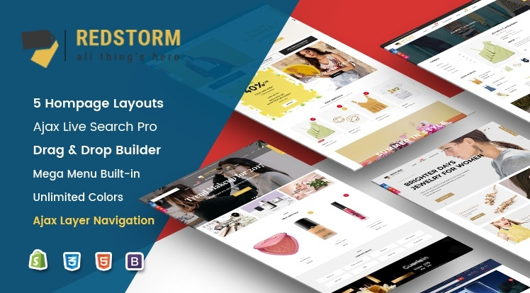 Ss RedStorm - Creative Drag & Drop Sectioned Responsive Shopify Theme