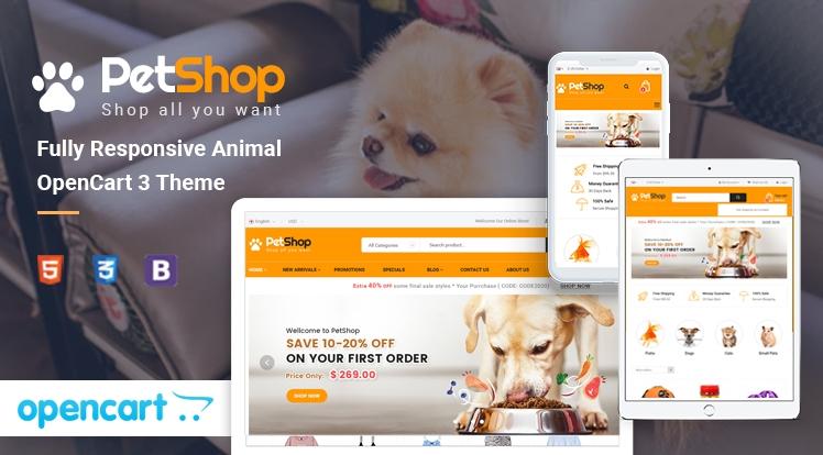 PetShop - Responsive Pet Store OpenCart 3 Theme