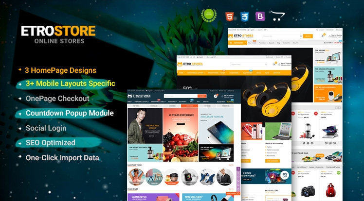 EtroStore - Drag & Drop Multipurpose OpenCart 3 & 2.3 Theme with Mobile-Specific Layouts