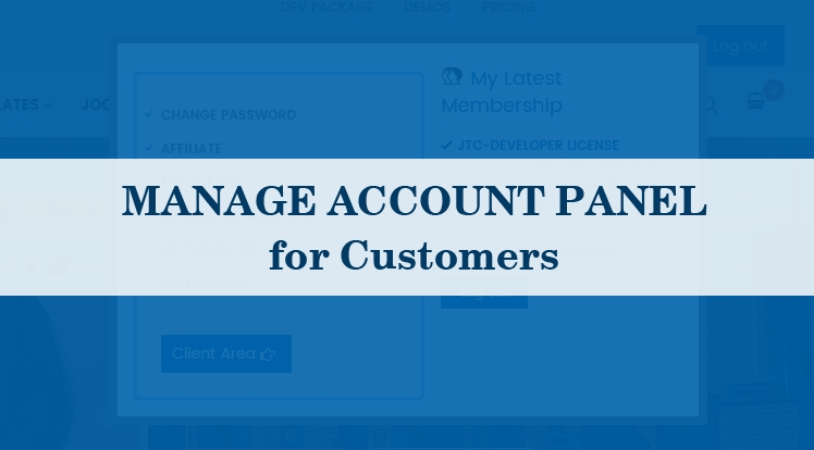 Manage Account Panel for Customers
